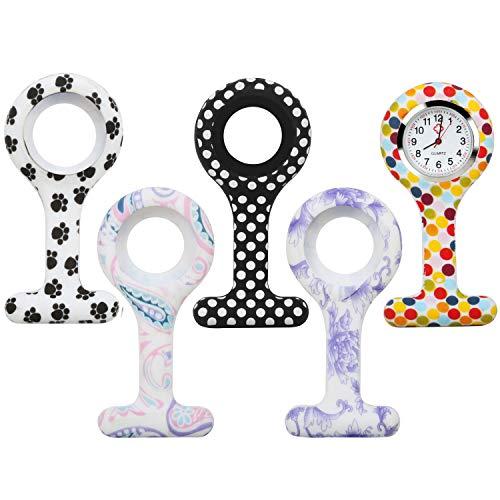 TRIXES Anhängeruhr - Krankenschwester Uhrenanhänger - 5-teiliges Sortiment mit verschiedenen Uhren-Silikongehäusen mit verschiedenen Mustern - für Ärzte, Tierärzte und Sanitäter Medizinisches