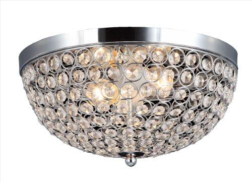 Elegant Designs Elipse Crystal Flush Mount 2-Light Ceiling Light Fixture