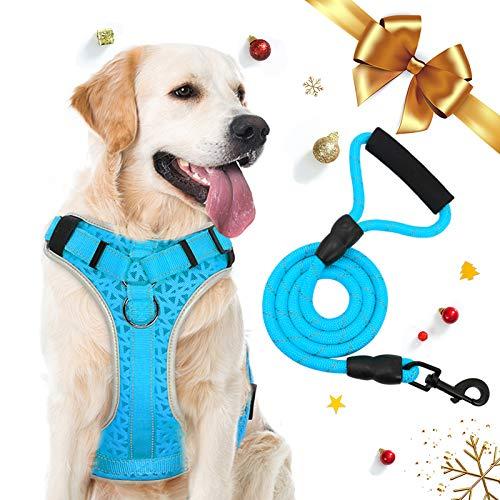 Supet para Perros Arnés Ajustable Anti-tirón Arnés de Pecho Oxford de Nailon Reflectante para Perros Grandes, Medianos y Pequeños