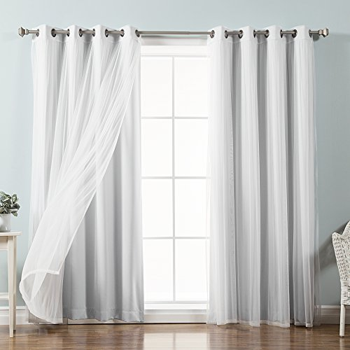 "Best Home Fashion Tulle Sheer with Attached Valance & Solid Blackout Mix & Match (52"" W X 96"" L, MM Vapor)"
