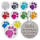 Medaglietta identificativa per cani e gatti con decorazione a forma di zampa con glitter, dimensioni 25 mm, di alta qualità