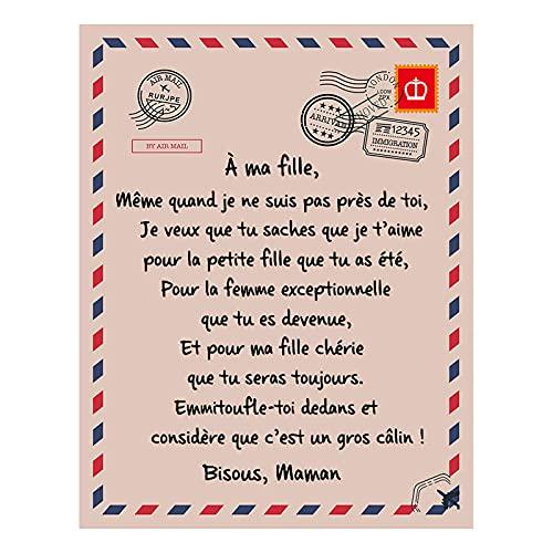 Gidenfly Manta de franela suave para sofá cama silla mensaje digital carta impresión sobre manta de sofá manta manta manta manta polar tiro mejor regalo para hija