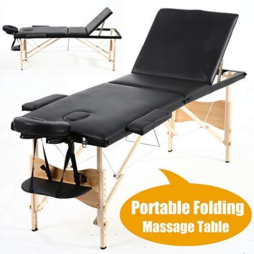 Draagbare opvouwbare Massage Tafelbed 3-sectie Houten Frame Lichtgewicht Beauty Bank Olie/Water-Proof Zacht Matrasje met Hoofdsteun Armsteun en Draagtas, Zwart, 2 Jaar Garantie
