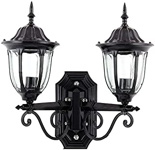 MiOeiy 2-Heads E27 IP44 Waterproof Outdoor Wall Lamp Glass Lantern Traditional European Victoria Vintage Wall Light Spotlight E27 Decoration Post Up Down Metal Wall Sconce Lighting