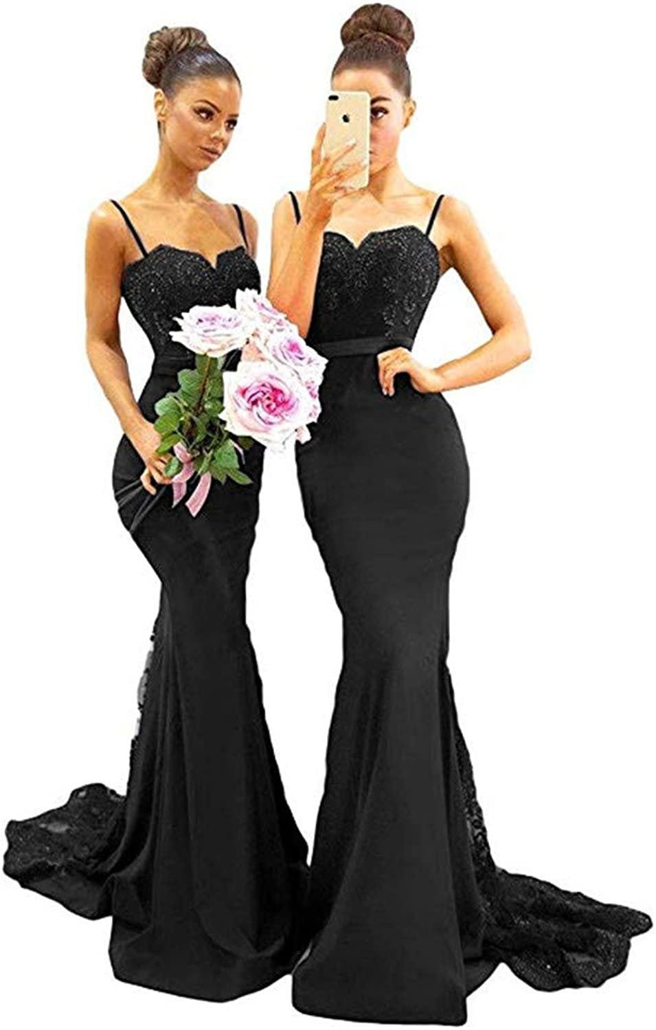 Datangep Bridesmaid Dresses Sexy Navy bluee Mermaid Long Open Back Maid of Honor Gowns