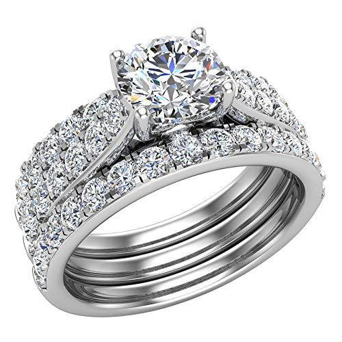 Juego de anillos de boda solitarios con diamantes acentuados con bandas realzadoras para novia, 1,90 quilates, oro blanco de 14 quilates