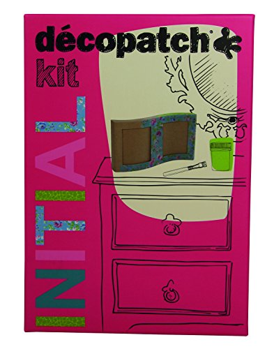 Décopatch KIT005O - Un kit Initial comprenant un cadre vague en papier pulpé brun, 2 feuilles Décopatch, un pinceau et un pot de vernis colle