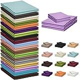 Qool24 Klassische Bettlaken 150x240cm zahlreiche Unifarben 100% Baumwolle Betttuch zum unterstecken -90x200cm & 100x200cm- Flieder