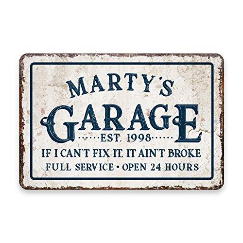 Gepersonaliseerde vintage gestresste look garage als ik het niet kan repareren metalen kamer teken - rustiek teken - welkom teken - aangepaste deur borden, aluminium metalen borden Tin plaque muur kunst poster 12