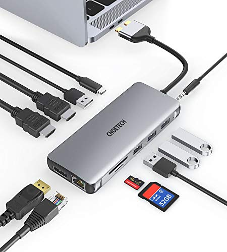 USB C Hub, CHOETECH 12 in 2 USB C Docking Station 4K@60Hz Triple Display Compatible with MacBook Pro/ Air, Dual HDMI, DisplayPort, PD 100W, USB C 3.0/ 2.0, Ethernet, SD/ Micro SD Card Reader