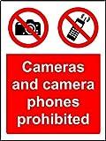 Verbotszeichen Kameras und Kamera-Handys sind verboten Hinweisschild–3mm Aluminium Schild 400mm x 300mm