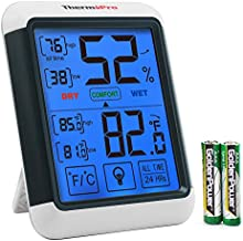 ThermoPro FBA_TP-55 Digital Hygrometer Indoor Thermometer Gauge with Jumbo Touchscreen and Backlight Temperature Humidity Monitor, Large Size - 4.3'' x 3.3'' x 1.0'', White & Grey