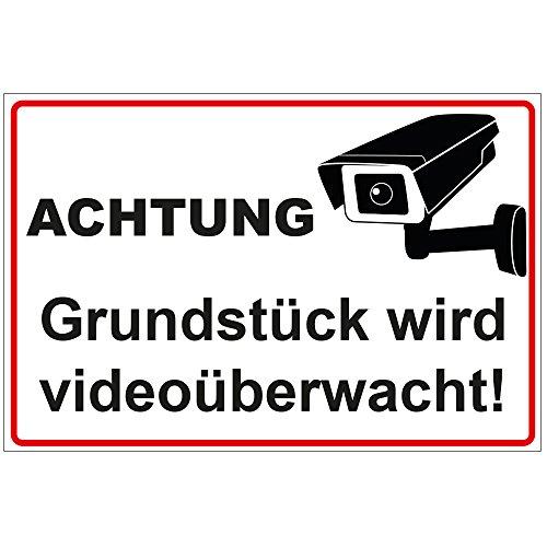 geschenke-fabrik.de Videoüberwachung Schild Achtung - Grundstück Wird videoüberwacht aus Alu/Dibond wetterfest 300x200 mm 3 mm stark mit Kamera Symbol