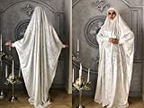 White velvet Khimar, muslim dress, Transformer jilbab nikab, traditional ready to wear hijab, prayer Dress, islamic Burqa