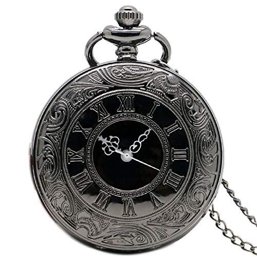 HELBOD Reloj de Bolsillo Retro Black Fullmetal Steampunk Spider Web Potter Attack On Titan Style Reloj de Bolsillo de Cuarzo Hombres Fob Cadena de RelojCaja de Regalo