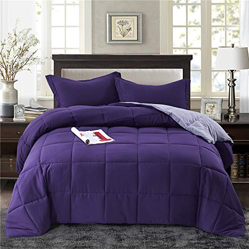 HIG 2pc Down Alternative Comforter Set - All Season Reversible Comforter with Sham - Quilted Duvet Insert with Corner Tabs -Box Stitched – Hypoallergenic, Soft, Fluffy(Twin/Twin XL, Purple)