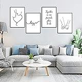 Juego de 4 impresiones de pared, Amor diputado en amor póster, póster Premium de cuadros modernos para salón, póster a juego para dormitorio, salón, decoración (M)