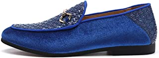 PengCheng Pang Loafers for Men Casual Boat Shoes Pointed Toe Slip on Anti Slip Concise Flat Knit Suede Upper Metal Decor Casual Walking (Color : Blue, Size : 7.5 UK)