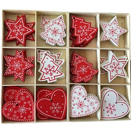 Yalulu Ensemble de 60 Ornements d'arbre de Noël Accessoires de Noël Décoratifs de Blanc Rouge Pendentifs en Bois Décoration pour Sapin de Noël