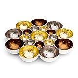 ZEYA Teelichthalter Gold Silber kupferfarben | Deko Wohnzimmer | perfekte Tisch Dekoration Metall
