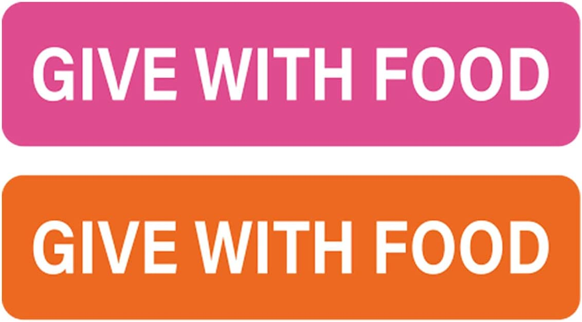 Give with Food Stickers Medication Instruction Labels for Medical Containers Pharmacies Hospitals 1/2 X 1.5 Inch 500 pcs/Roll (Pink, 0.5 x 1.5Inch)