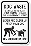 SmartSign 'Dog Waste Is A Threat, Leash And Clean Up After Your Dog' Sign   12' x 18' Aluminum