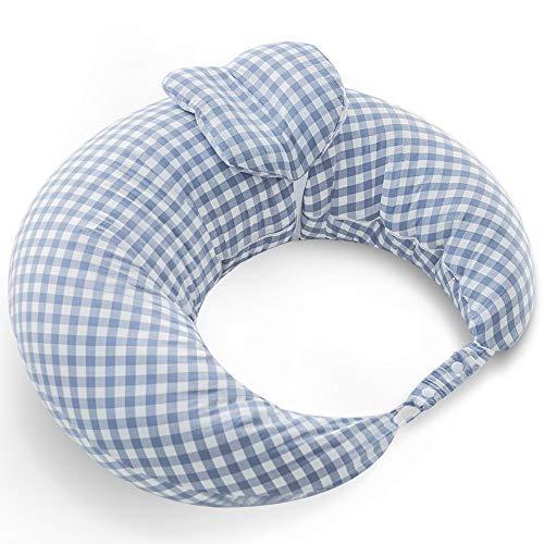 iOCHOW 授乳クッション 綿 ポリエステル繊維 45°科学授乳 クッション ミニ枕は取り外せる 56×50×20cm チェック柄