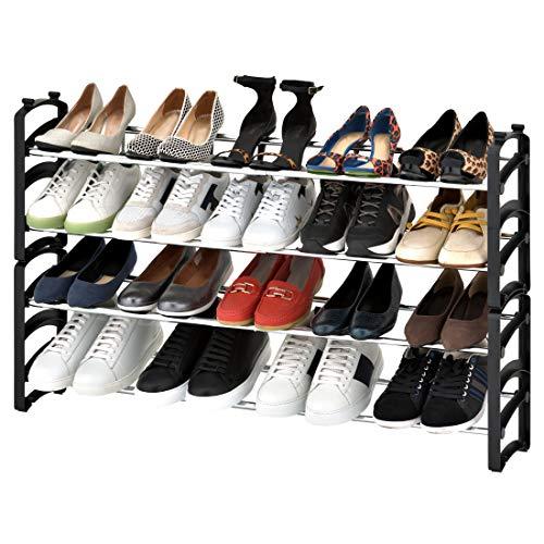 Seville Classics 4-Tier Expandable 24-Pair Shoe Rack Resin Freestanding Closet, Entryway, Bedroom Footwear Organizer, Chrome Poles