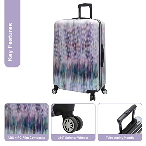 Steve Madden 28 Inch Checked Luggage Collection - Scratch Resistant (ABS + PC) Hardside Suitcase - Designer Lightweight Bag with 8-Rolling Spinner Wheels (Diamond)