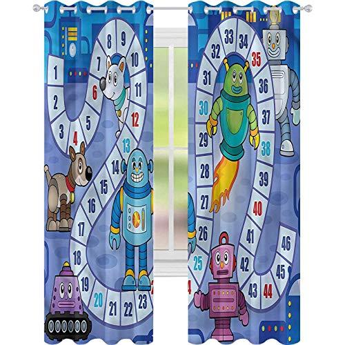 jinguizi Cortina de ventana opaca Juego de tablero de robots futuristas Mechs W52 x L63 para decoración de niños cortinas personalizadas