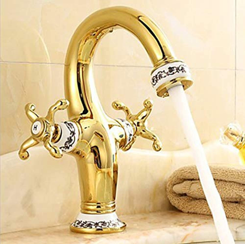 ROKTONG Faucet Hot And Cold Water Basin Faucet gold-Plated Jade Basin Mixer