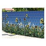 PerfectHD Zaunsichtschutz   30 Motive   Sichtschutzstreifen für Doppelstabmattenzaun   Windschutz Sonnenschutz Blickdicht   2,50m x 1,80m   19cm   9 Streifen   Sonnenblumen