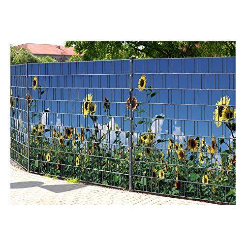PerfectHD Zaunsichtschutz | 30 Motive | Sichtschutzstreifen für Doppelstabmattenzaun | Windschutz Sonnenschutz Blickdicht | 2,50m x 1,80m | 19cm | 9 Streifen | Sonnenblumen