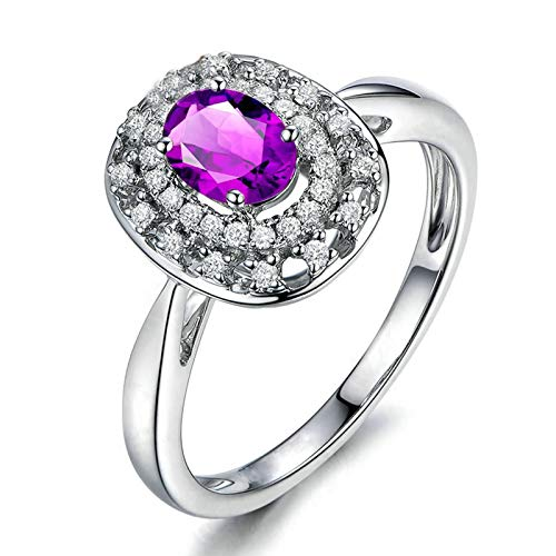 Bishilin Anillos de Promesa Plata de Ley S925 para Mujeres Ajuste Cómodo Forma Oval Púrpura Oval Cristal Piedra del Zodíaco Anillo de Compromiso de Boda con Bolsa de Joyeríaplata Talla: 25