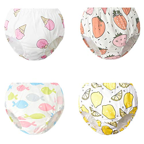 Chinashow Baby 100% Baumwolle Unterhosen Set - 4 Stücke Karikaturdruck Unterwäsche Trainingshose für Kleinkind Mädchen 0-2 Jahre (Obst)