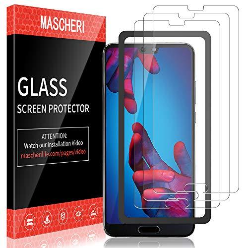 MASCHERI Pellicola Protettiva per Huawei P20 [3 Pezzi] Schermo Protettivo, [Telaio di Posizionamento] Vetro Temperato Schermo Protettivo per Huawei P20 - Trasparente
