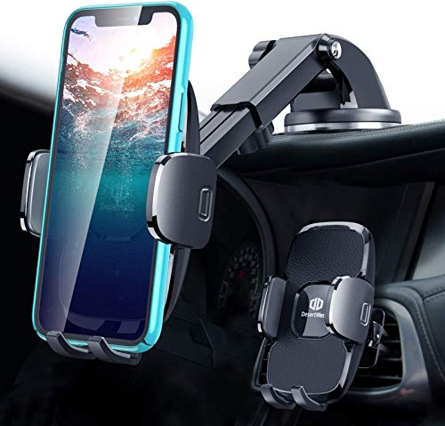 DesertWest Universal Car Phone Mount, [Protection Upgrade] Cell Phone Holder Stand for Dashboard Windshield Air Vent, Compatible with iPhone 12 SE 11 Pro Max XR XS X Samsung Galaxy Note 20 S20 S10 S9