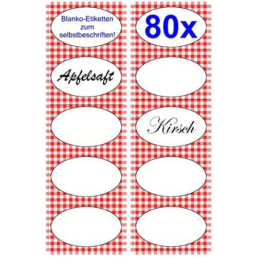 80x Klebe-Etiketten für Marmelade, Gelle, Saft, usw. 63mm x 36mm zum Bedrucken oder beschriften