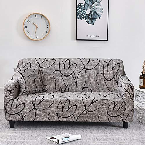 WXQY Funda de sofá elástica con diseño de Flor de melocotón, Funda de sofá con protección para Mascotas, Esquina en Forma de L, Funda de sofá con Todo Incluido, A34, 4 plazas