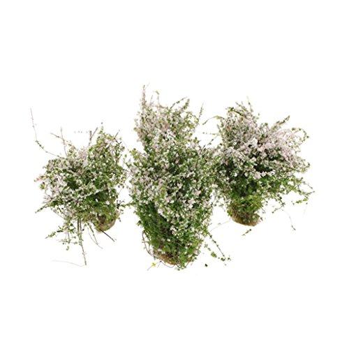 sharprepublic 4X / Pack White Ground Cover Flower Cluster Grass Modelo Mini para RR Park Toys