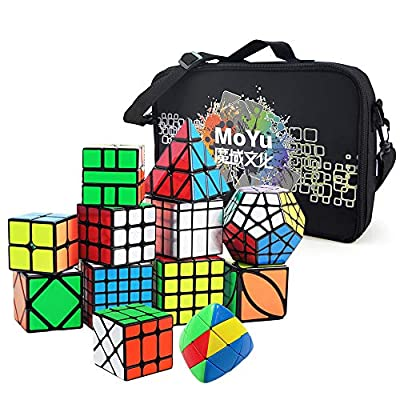 I-xun 12 Pack Large Speed Cubes Set with Special Storage Bag and Professional WCA Competition Magic Cube Kinds 2x2 3x3 4x4 5x5 Pyraminx Megaminx Skewb SQ1 Cube Puzzle Toys Black Sticker from I-xun