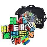 HJXDtech 12 Paquete Speed Cube Set con Bolsa de Especial y Tipos de Cubo Mágico Profesional WCA Competition 2x2 3x3 4x4 5x5 Pyraminx Megaminx Skewb SQ1 etc. Cube Puzzle Toys (Negro)