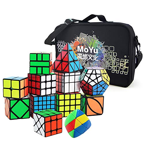 I-xun 12 Pack Large Speed Cubes Set with Special Storage Bag and Professional WCA Competition Magic Cube Kinds 2x2 3x3 4x4 5x5 Pyraminx Megaminx Skewb SQ1 Cube Puzzle Toys Black Sticker