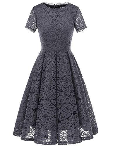 Women's Vintage 50's Bridesmaid Halter Floral Lace Cocktail Prom Party Dress Grey M