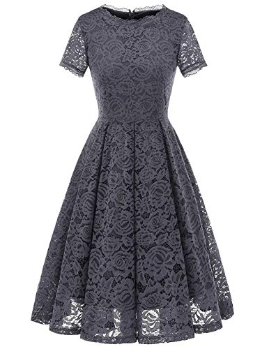 Women's Vintage 50's Bridesmaid Halter Floral Lace Cocktail Prom Party Dress Grey M
