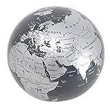 Esotica© .Mappamondo rotante Argento Silver – con luce a led punto luce – un regalo porta fortuna per chi ama viaggiare ed imparare la geografia