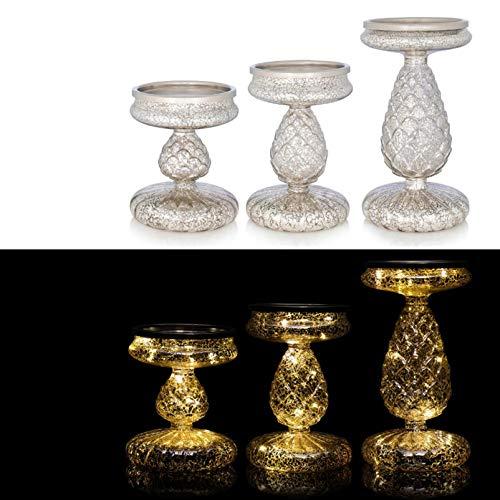 DbKW 3er Set Kerzenständer/Kerzenhalter in Silber mit LED-Beleuchtung und Timer. Geeignet für Stumpenkerzen…