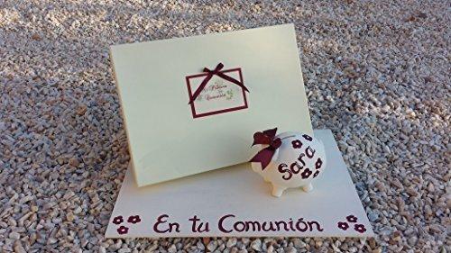 Regalo comunión Libro de comunión hecho a mano y firmas personalizado y cerdito hucha personalizado 14