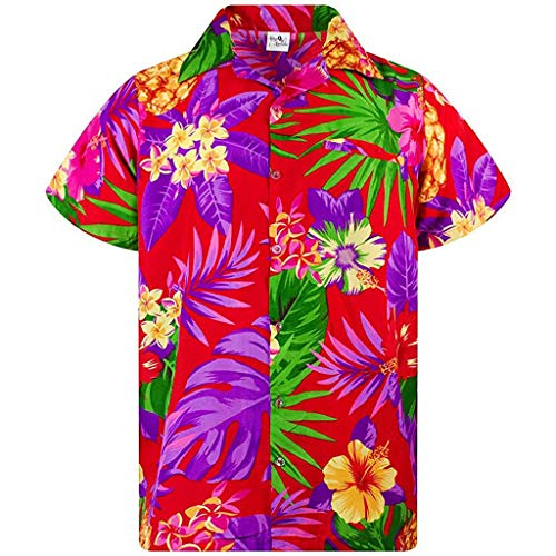 Camisa étnica para hombre con estampado, manga corta, botones sueltos, informal, con solapas, botón retro, informal, hawaiano A_rojo. XXXL