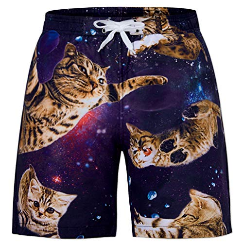 Boys Funny Swim Trunks 3D Galaxy Cats GraphicKitty Beach Boardshorts Quick Dry Novelty Mesh Bathingsuit Swimsuit for Sports Running 14-16 Years